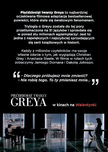 Tył ulotki filmu 'Pięćdziesiąt Twarzy Greya'