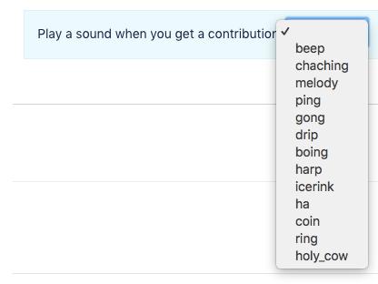 Screenshot of dropdown menu with pinger sound options.