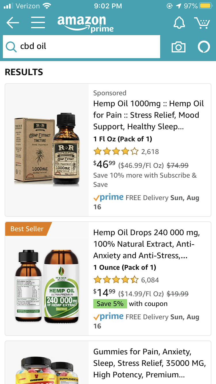 CBD oil is not available on Amazon.com. If searched, customers will be directed to hemp oil, which does not contain the same properties as CBD.