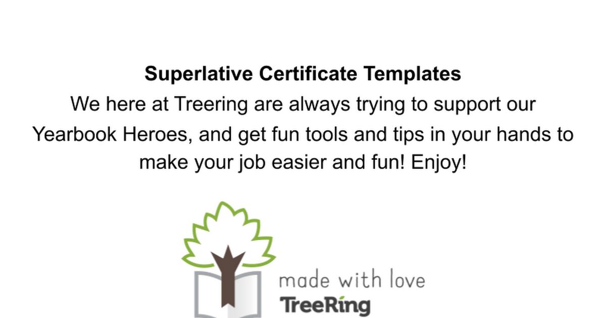 superlative certificates templates  Superlative Certificates Template — TreeRing - Google Slides
