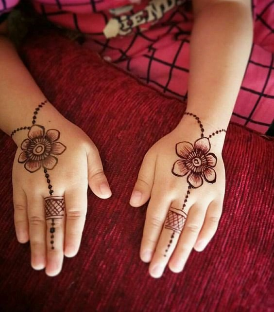 Back hand mehndi design showing haathphools by a baby.