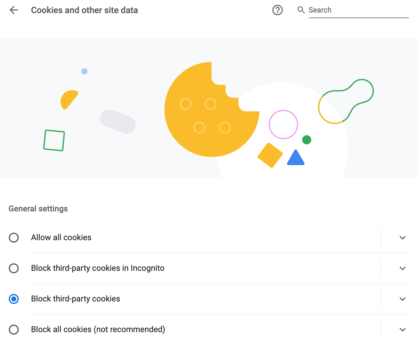 general settings for cookies and other site data on google chrome browser