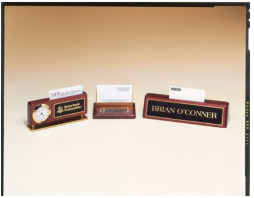 Rosewood Combination Clock & Business Card Holder