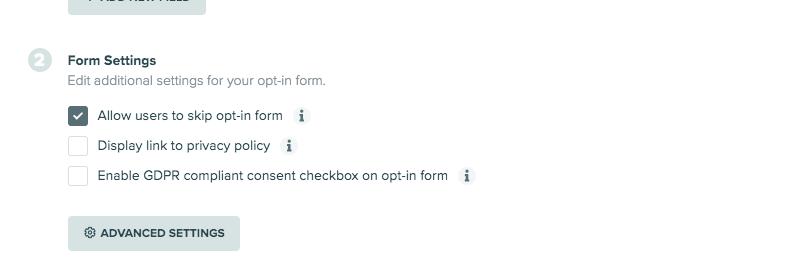 form settings