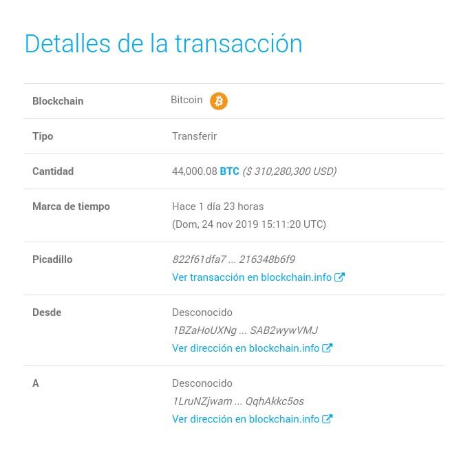 Detalle de la transacción realizada por la ballena crypto. Fuente: Whale Alert