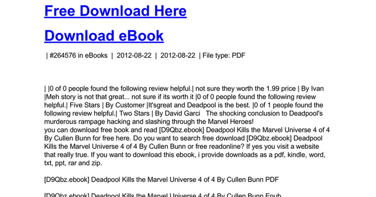 Deadpool Kills The Marvel Universe 4 Of 4c Google Drive