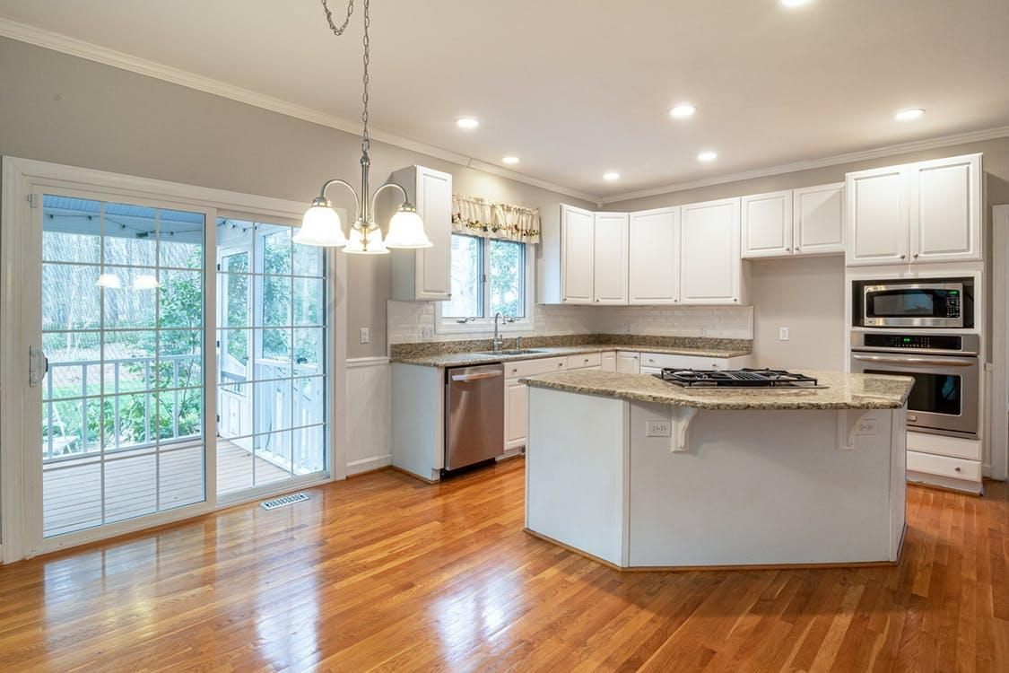 White and Brown Kitchen Counter