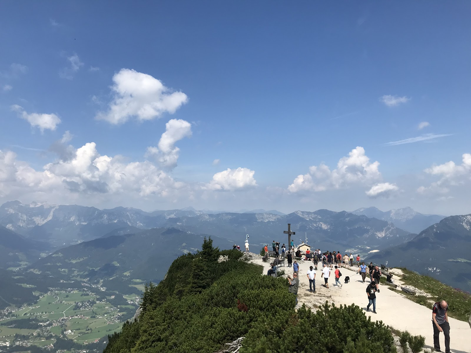 Bike climb of to Hitler's Lair - Eagles Nest - cross at top, walkway, mountains