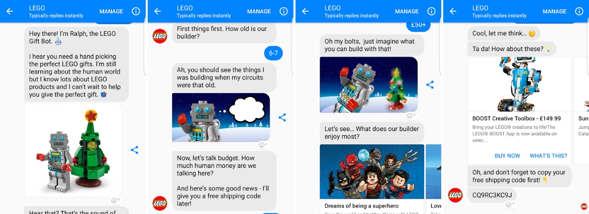 Customer experience - Lego Facebook chatbot
