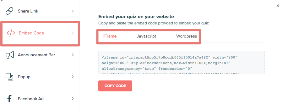 embed code in Interact