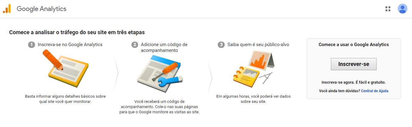 Cadastro no Google Analytics