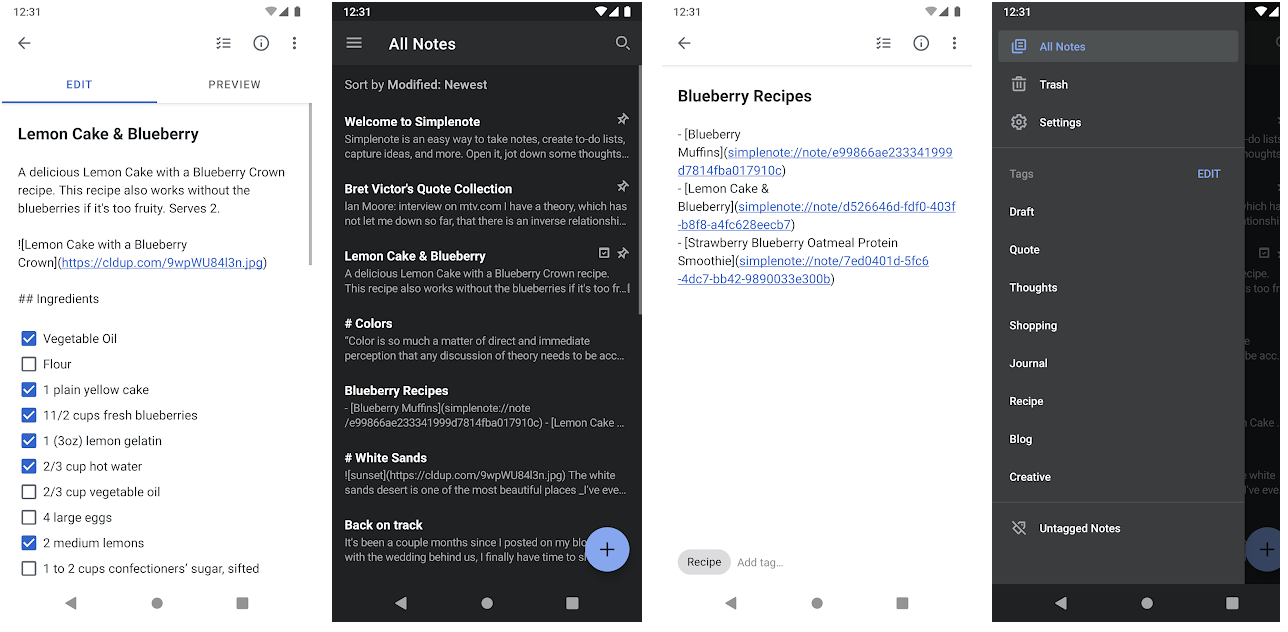simplenote screenshots from play store