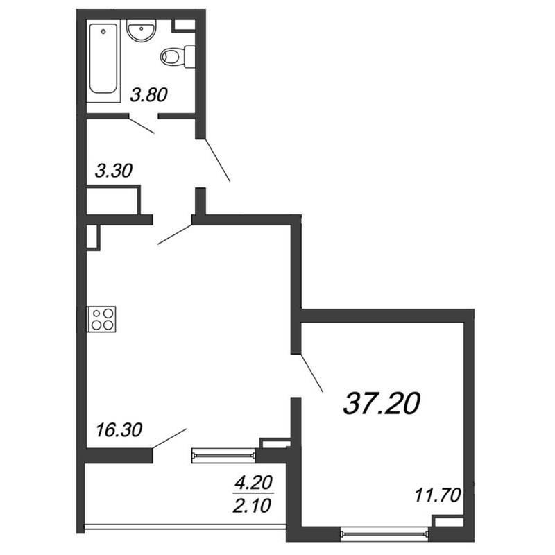 Однокомнатная квартира с большой проходной кухней