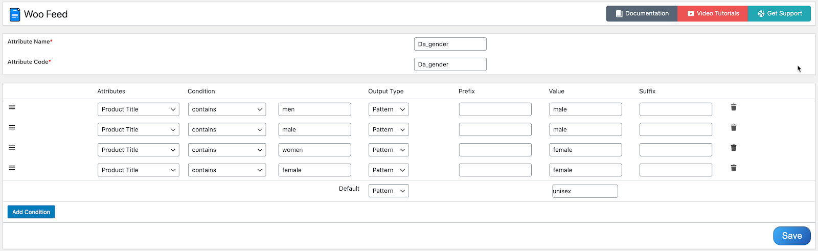 Dynamically add Gender to Google Product feed