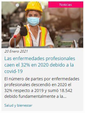 Los accidentes laborales caen en 2020