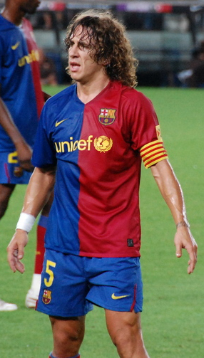 Carlos Puyol playing for Barcelona
