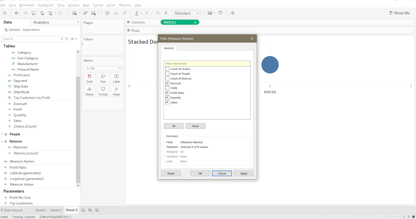 Filter feature of Tableau