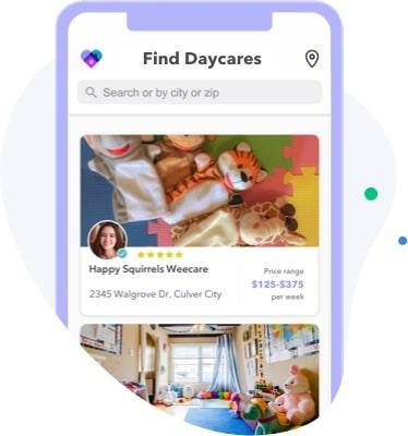 Homepage of the WeeCare app