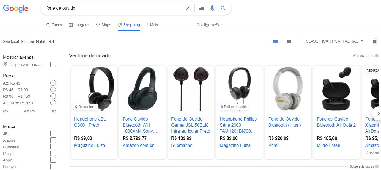 Campanha de shopping google ads