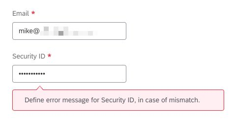 define error message for security id