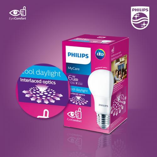 Ánh sáng êm dịu cho đôi mắt nhờ công nghệ tán quang xen kẽ Bóng đèn Led bulb Philips MyCare