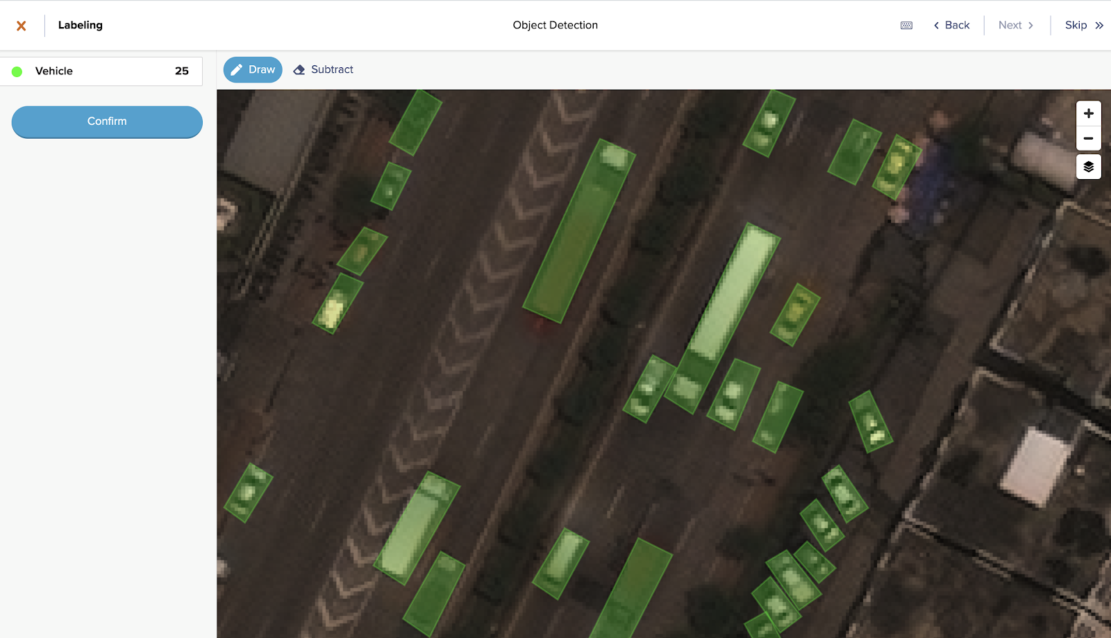 A screenshot of a object detection use-case in the labeling tool GroundWork. Green bounding boxes are drawn around 25 vehicles.