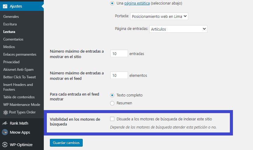 indexacion en wordpress