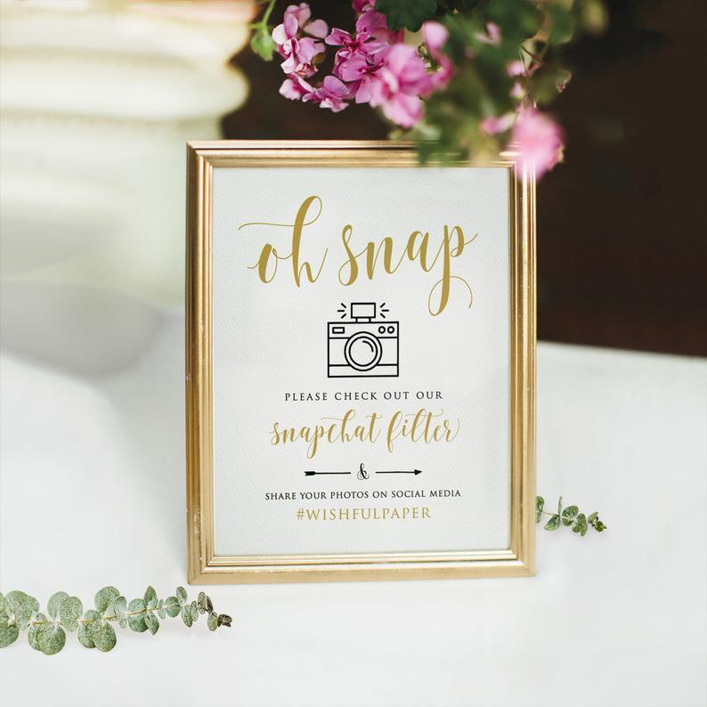 Oh Snap Sign Printable Wedding Snapchat Filter Sign Oh Snap image 0