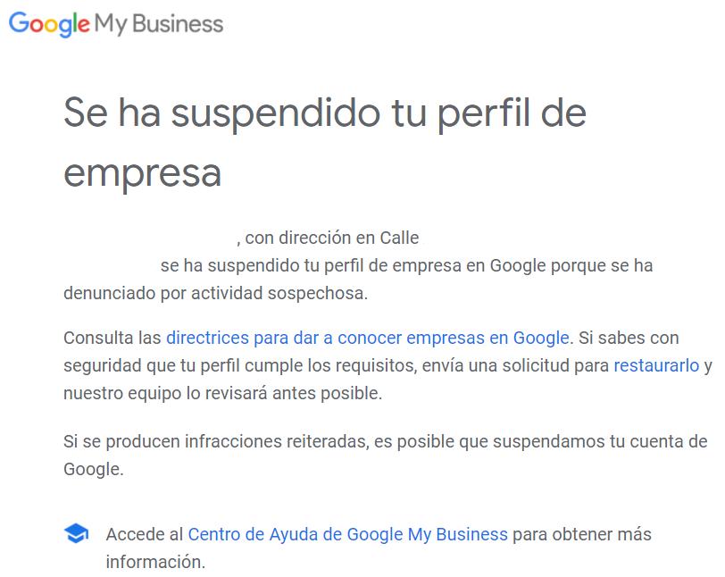 Apartamento turístico suspendido en Google