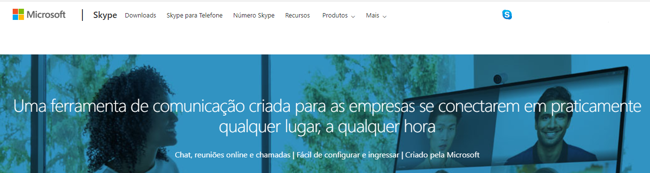 Página inicial do skype for business