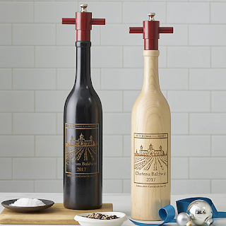K'Mich Weddings - wedding planning - personalized wine chateau salt and pepper mill set - wine enthusiast