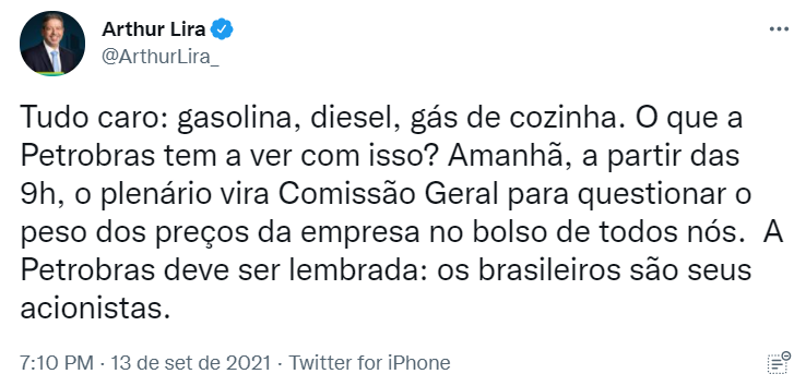 Print de tweet do Arthur Lira @ArthurLira_