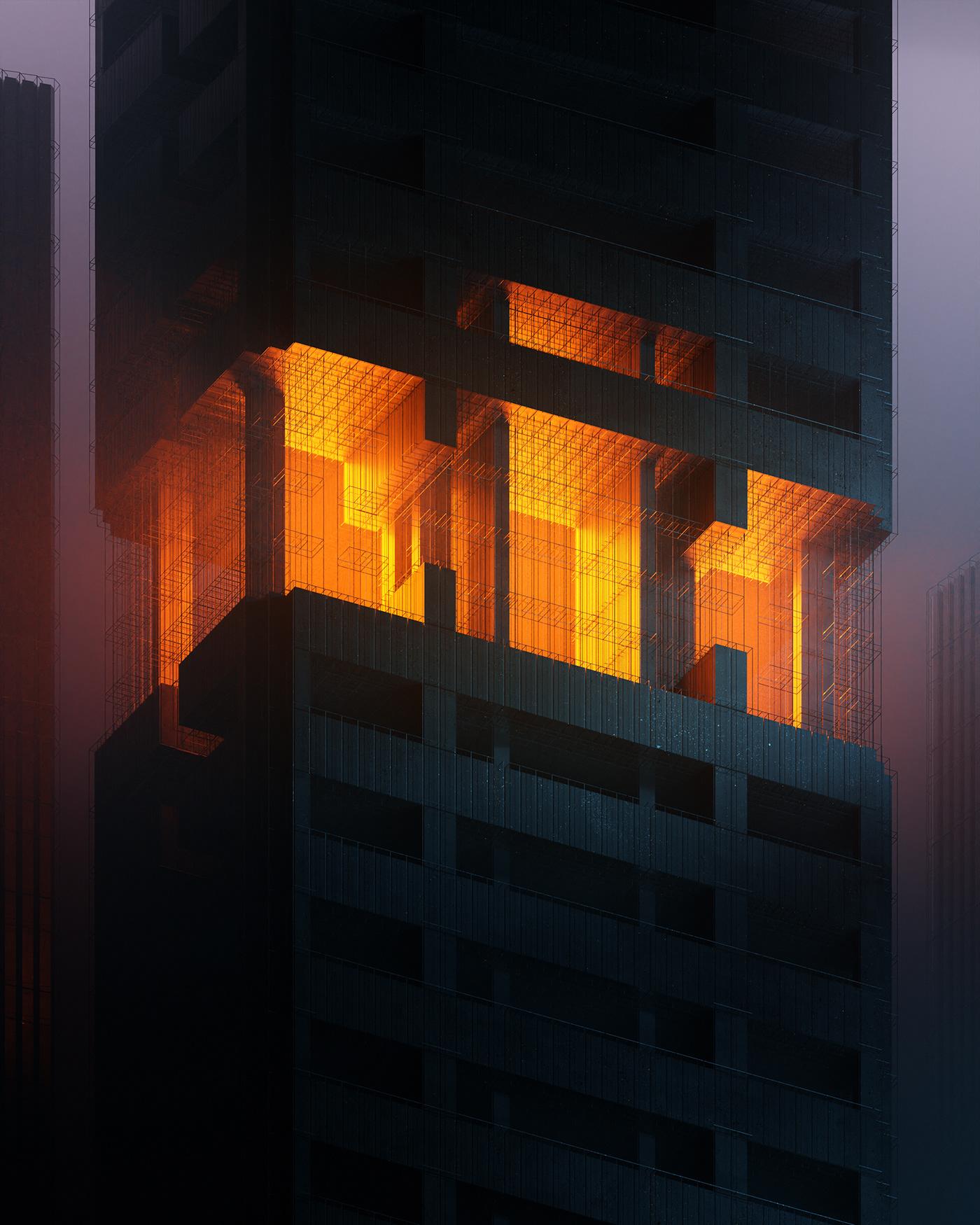 3D aesthetic architecture atmosphere blender Brutalism Insomnia light night Perspective