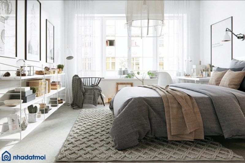 Trang trí phòng ngủ bằng ga giường màu xám