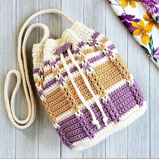 Cable Stripes Drawstring Bag Crochet Pattern