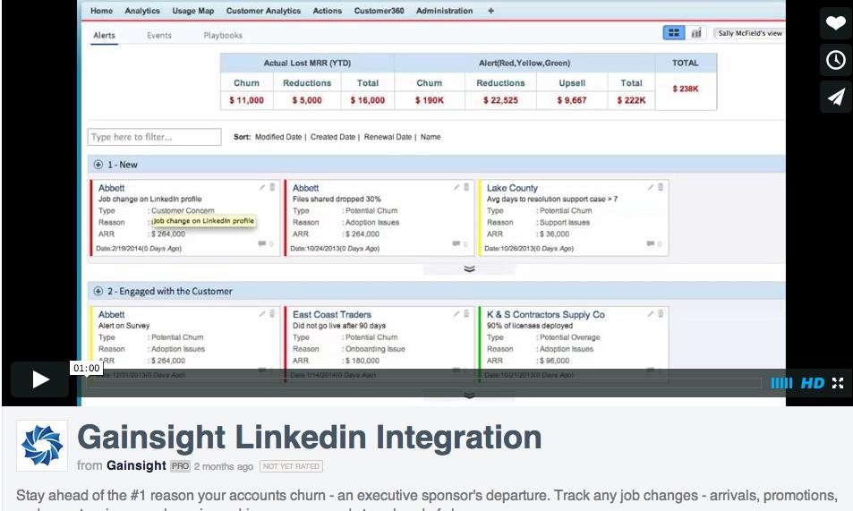 Gainsight's LinkedIn integration