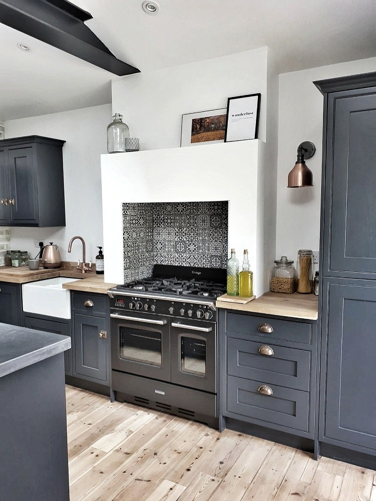 grey blue shaker cabinets with silver cup pulls scandinavian design wood butcher block countertops