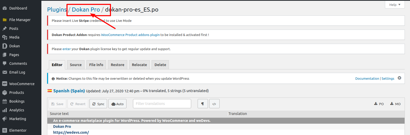 WordPress plugin translation