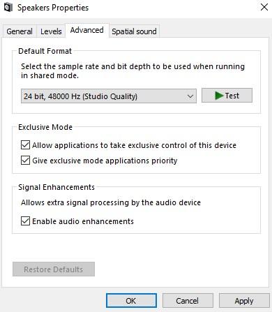 uncheck enable audio enhancements