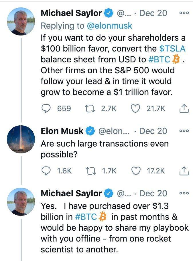 conversa entre Elon Musk e Michael Saylor pelo Twitter