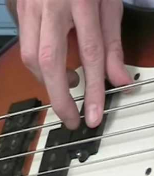 Playing bass guitar with fingers