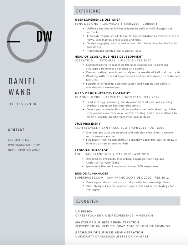 A well designed portfolio-style resumé. On the left is a strong grey column, with the words Daniel Wang UX Designer prominently displayed.