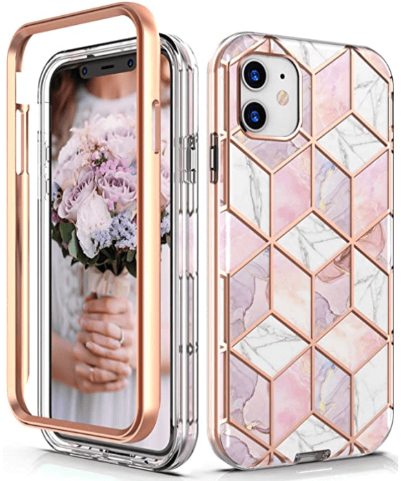iphone 11 protective phone case marble pink gold mother's day gift ideas