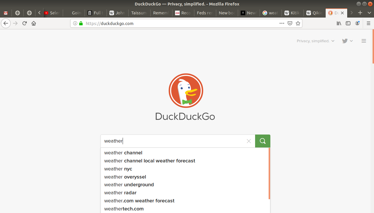 """weather"" typed into duckduckgo's search bar"