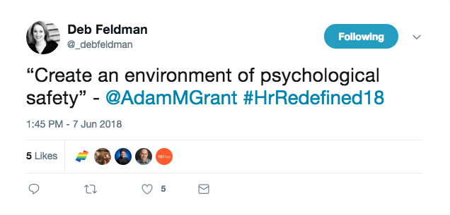 Tweet mentioning creating an environment of psychological safety