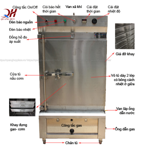 Cấu tạo tủ nấu cơm công nghiệp 12 khay gas Quang Huy