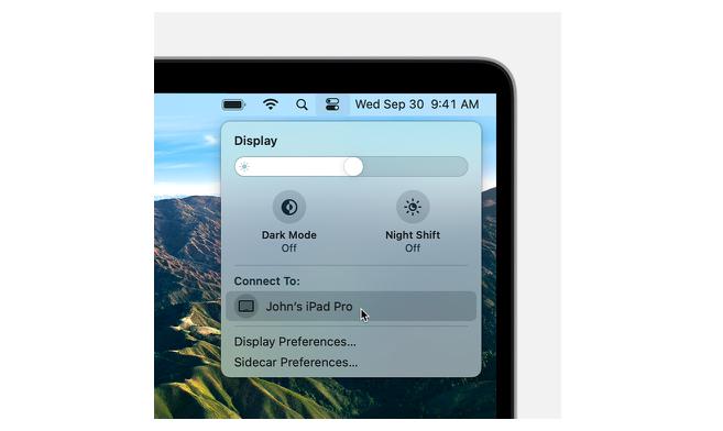 Среди доступных мониторов выбираем собственный iPad