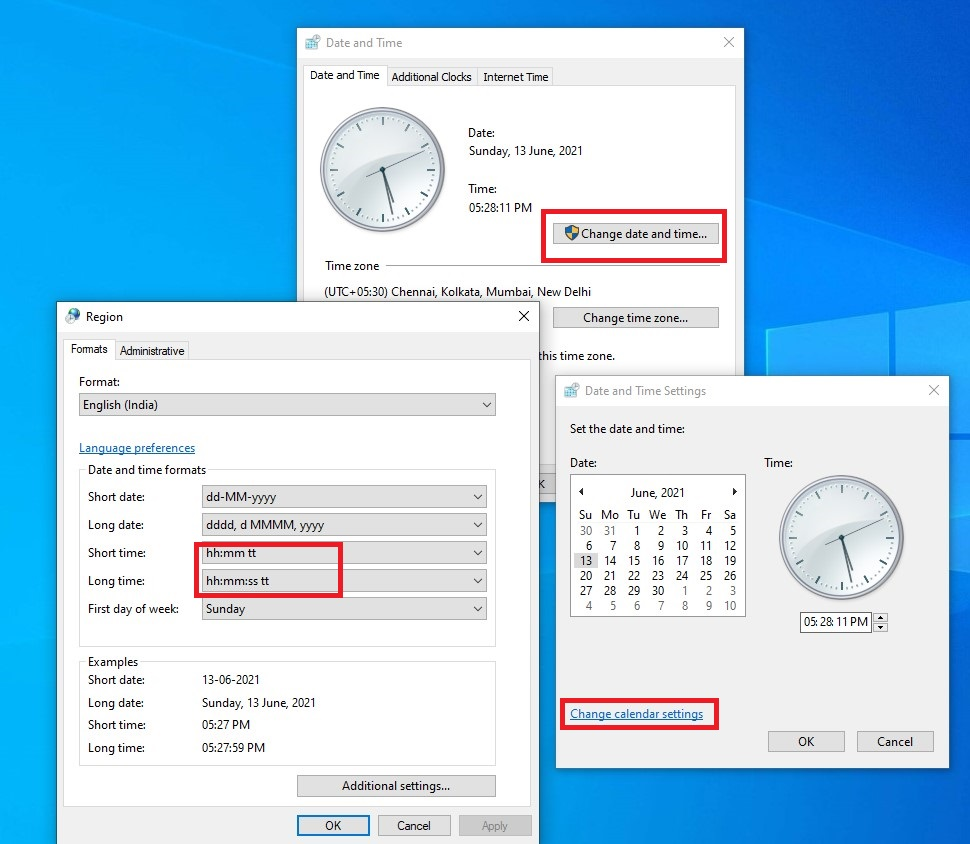 click change date and time format