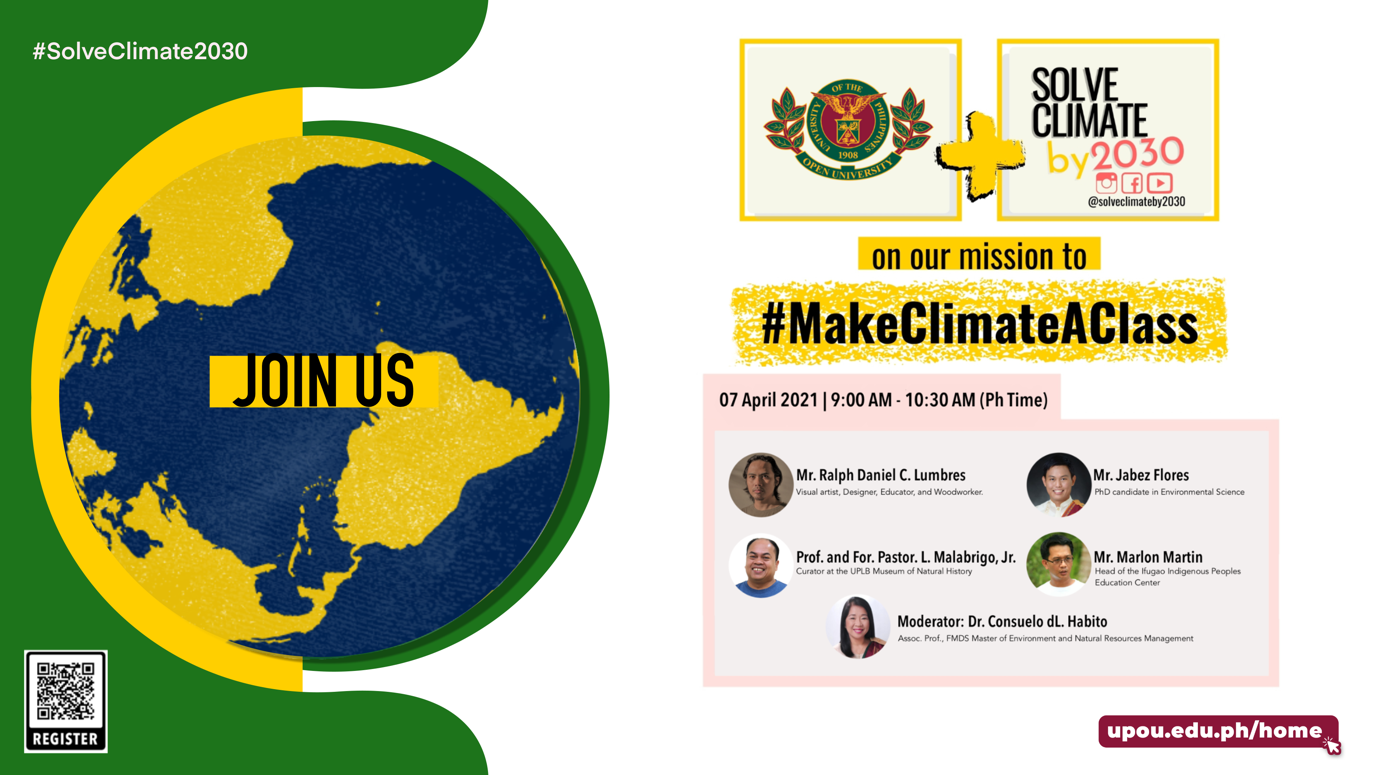 UPOU joins Global Campaign to Solve Climate Change by 2030