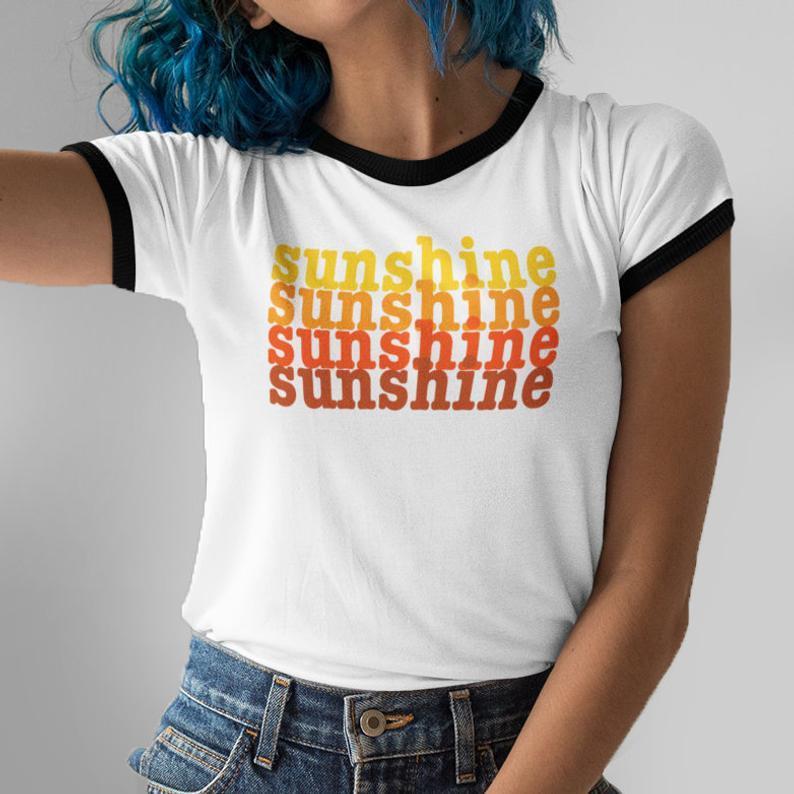 Sunshine Vintage Inspired Shirts  60s 70s 80s  Positive White Ringer